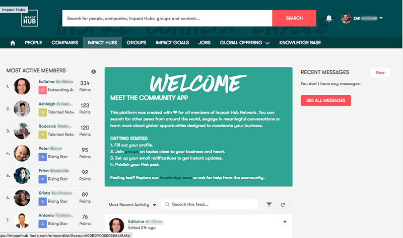 Impact Hub's online community portal created using Salesforce Community Cloud.