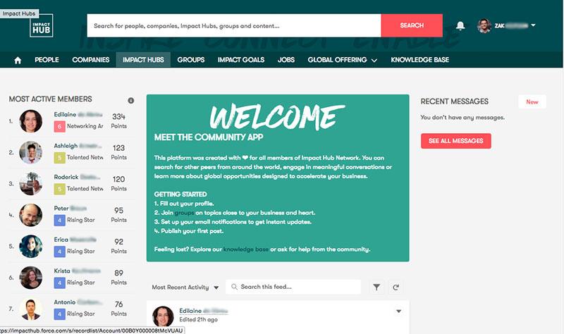 Impact Hub's online community portal created using Salesforce Community Cloud.