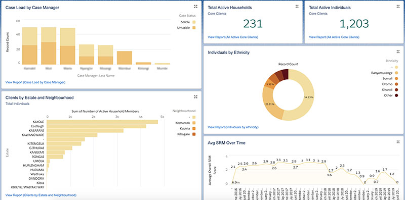 A Dashboard from RefugePoint's case management Salesforce system.