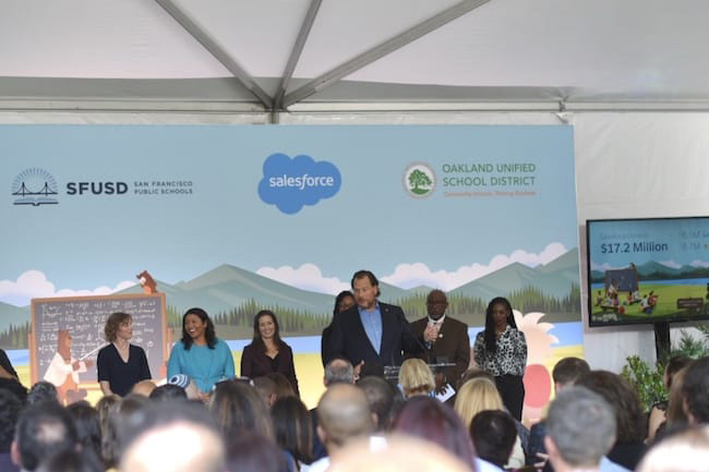 Salesforce's Marc Benioff thanks principals and educators for their work and encourages everyone to get involved with their local schools
