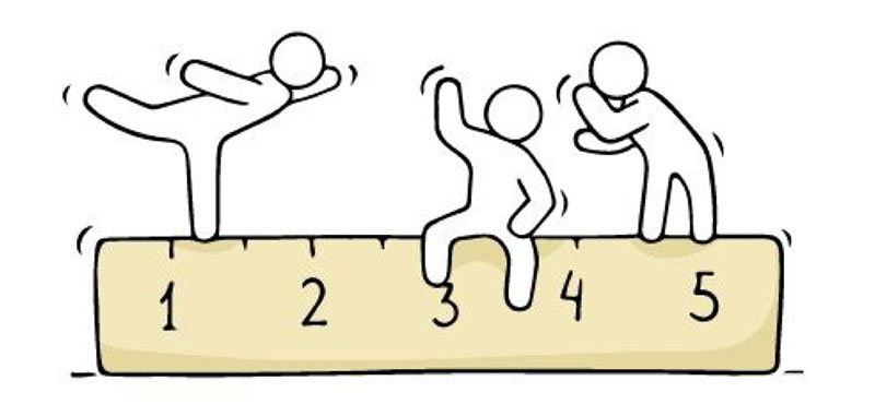 Hand drawn figures balancing on a giant ruler