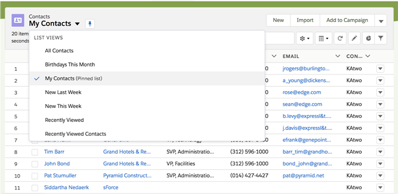 Contact list view options and a pinned list view