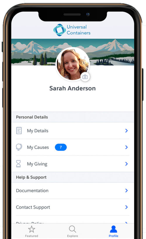 Profile page on the Philanthropy Cloud iOS mobile app