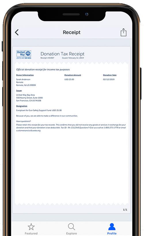 Screenshot of a donation tax receipt