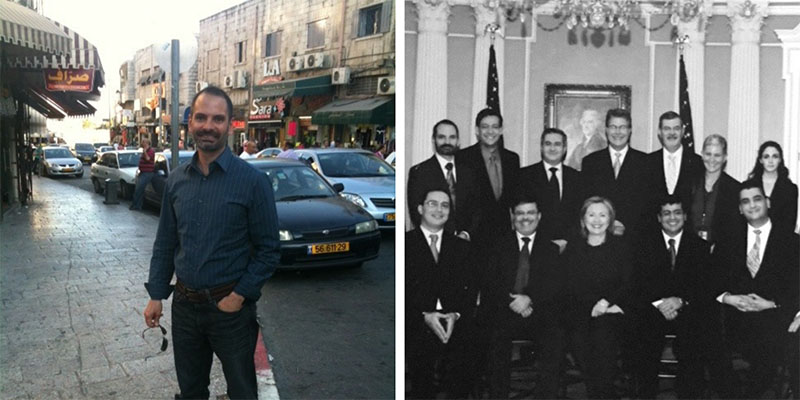 "Left: Rob Jordan onsite in Hebron, Palestine for ""Project Palestine""   Right: Rob Jordan representing Idealist Consulting at the ACE awards in Washington, D.C."