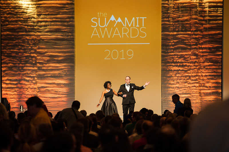 Our Hosts, Leah McGowen and Jim Stroka, at last year's Summit Awards.