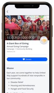 Mobile phone donation page in Philanthropy Cloud