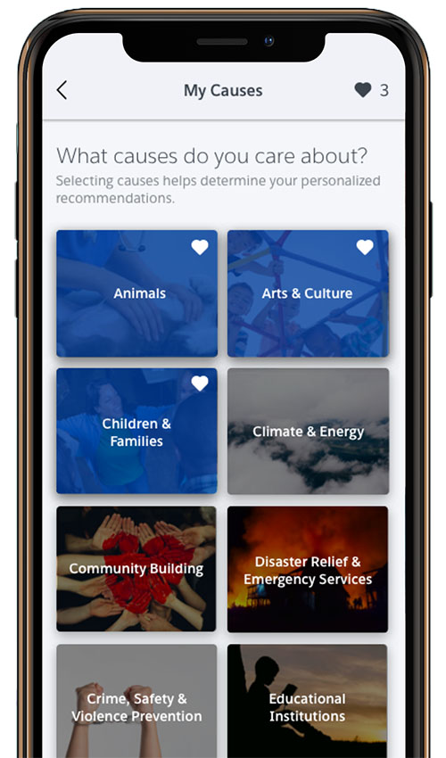 Select the causes you're most passionate about in the iOS mobile app for Philanthropy Cloud.