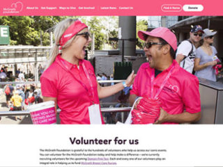 Volunteers across Australia sign up online for shifts at McGrath Foundation events, which fund McGrath Breast Care Nurses supporting individuals and their families experiencing breast cancer.
