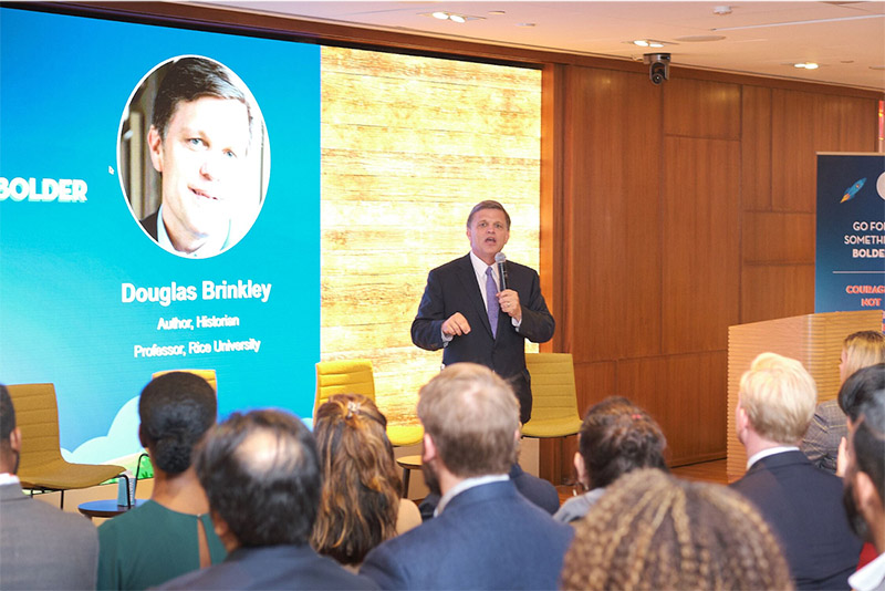 Douglas Brinkley speaks at the Salesforce.org Go For Something Bolder event in New York.