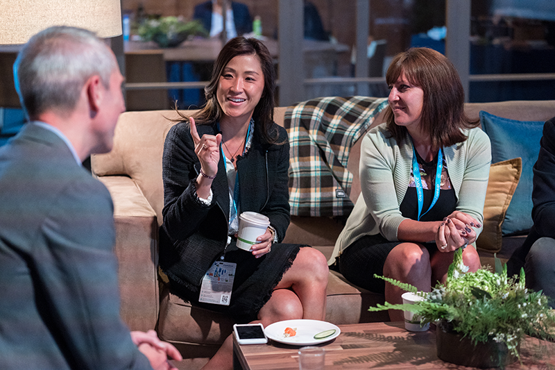 Dreamforce attendees having a discussion