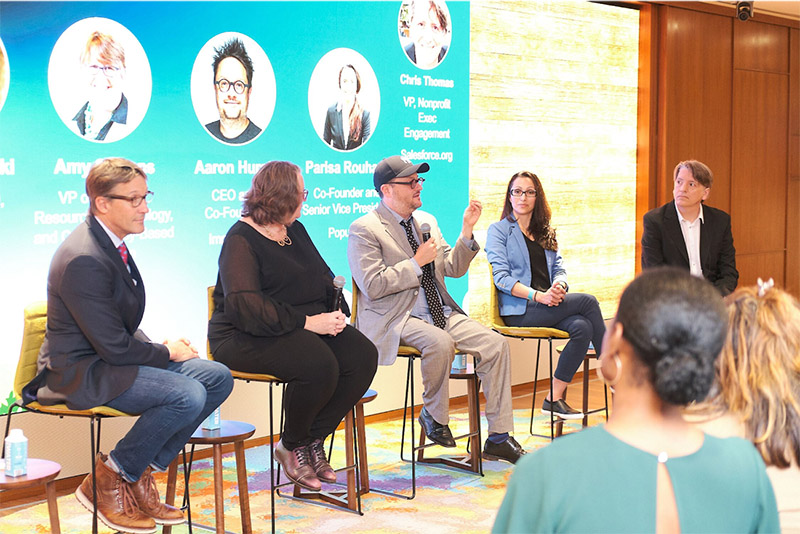 Panel discussion at Salesforce.org Go For Something Bolder event in New York.