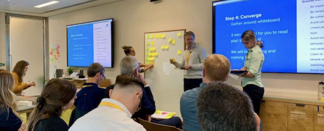 Salesforce customers work with product managers at the Salesforce.org Nonprofit EMEA Customer Advisory Board in London, UK October 2019.