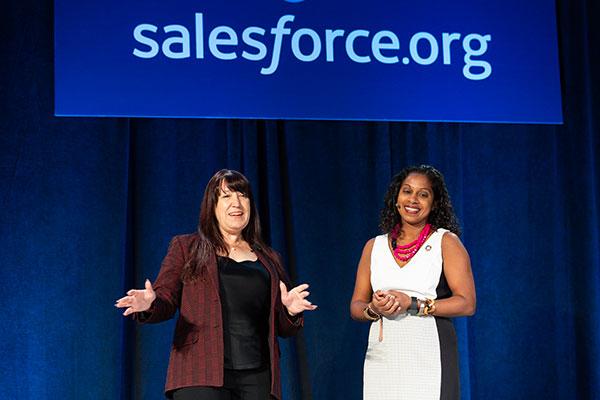 Donna Kidwell, CTO of EdPlus at ASU and Geshri Gunasekera, Senior Director of Higher Education Industry Solutions at Salesforce, spoke at the Education Cloud keynote at Dreamforce 2019.