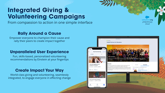 Screenshots and description of integrated giving and volunteering campaigns