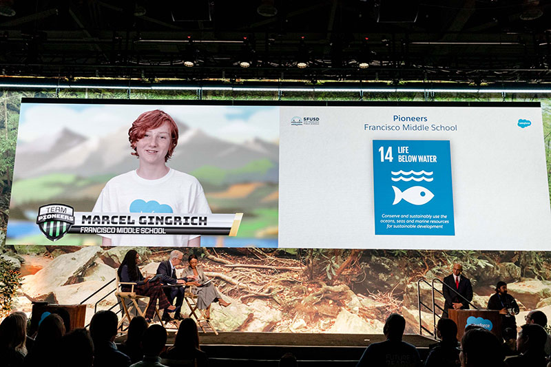 A middle school student discusses Sustainable Development Goal #14