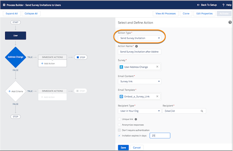 Automate a Survey send with Process Builder