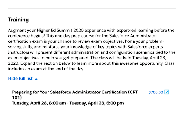 Sign up for Admin certification when you register for Higher Ed Summit!