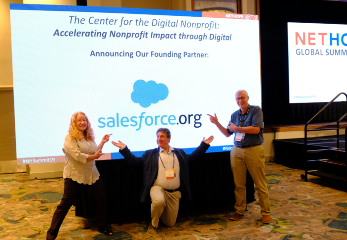 NetHope's Lee Anne Caylor, Jean-Louis Ecochard and Fredrik Winsnes celebrate Salesforce as a new Center for the Digital Nonprofit Founding Partner. Source: NetHope