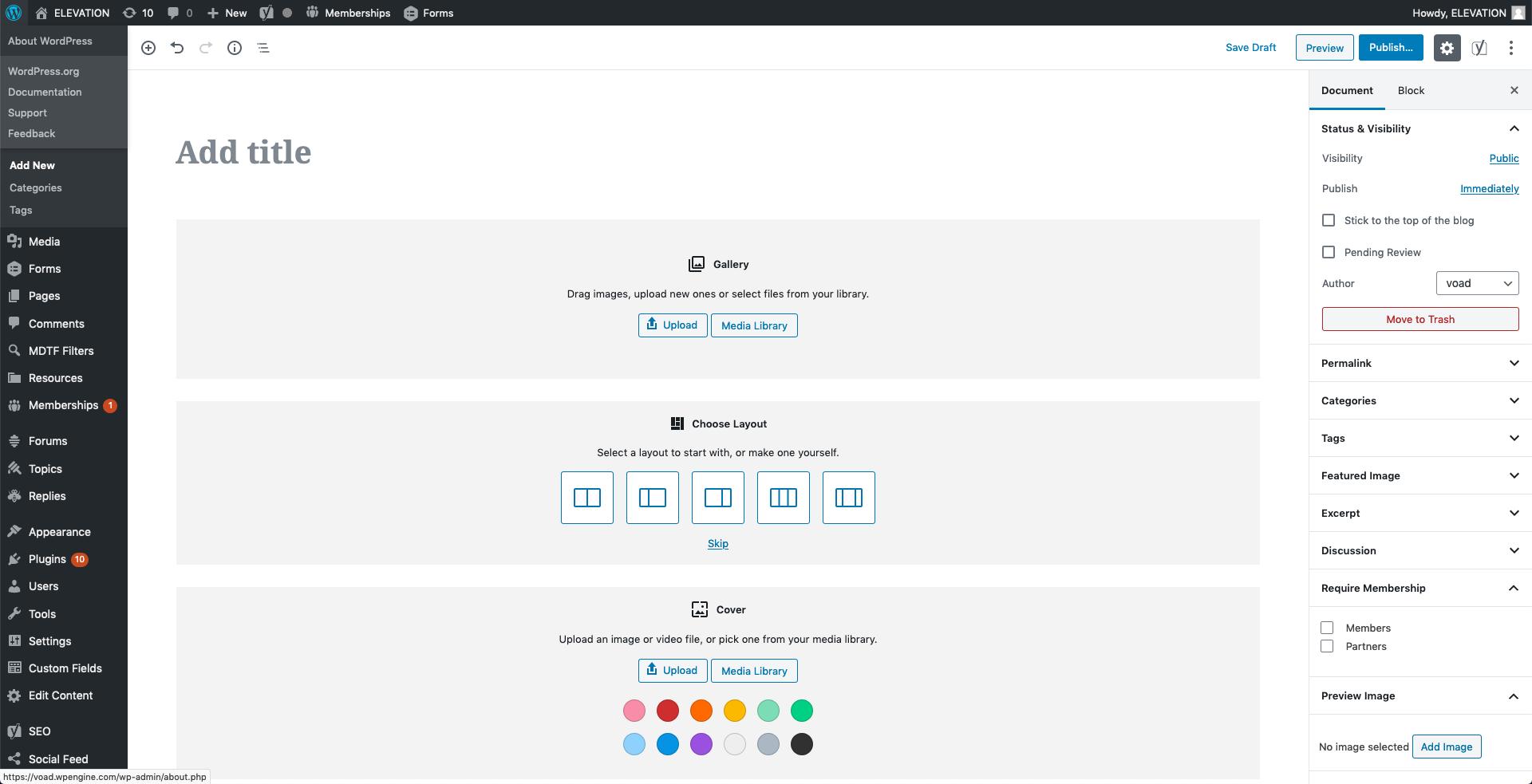 Screenshot of WordPress