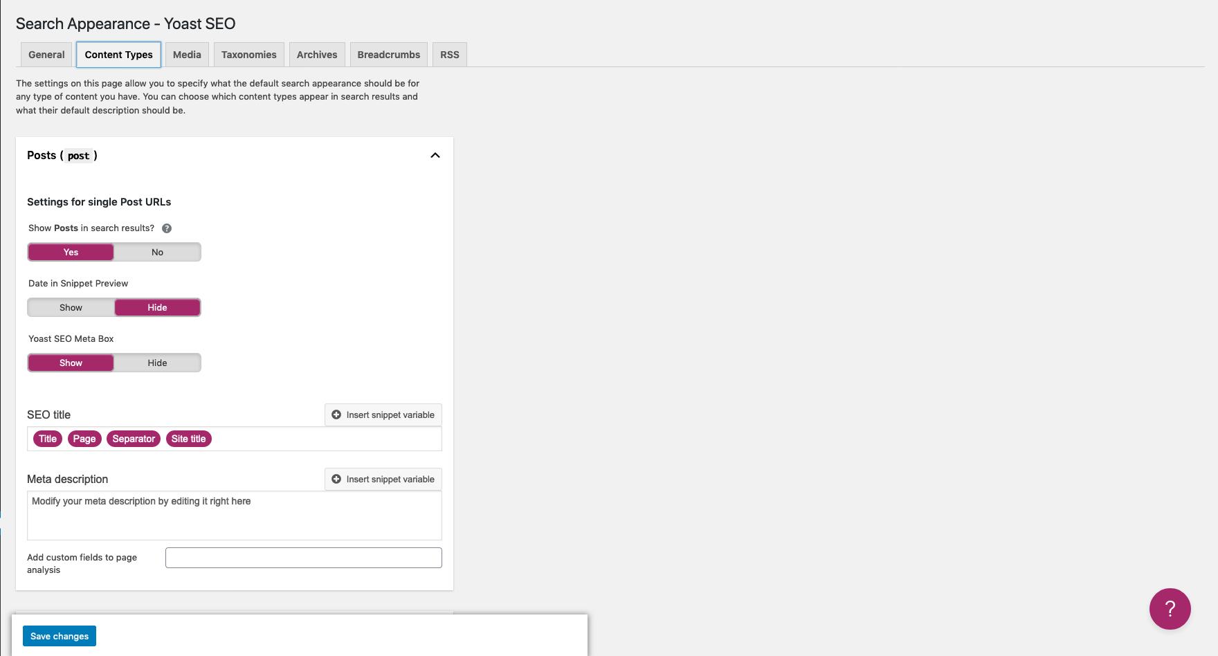 A screenshot of the Yoast SEO widget