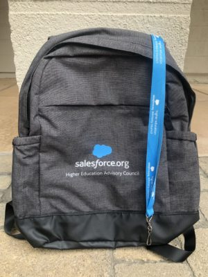 Keep an eye out for the blue lanyard and gray backpack at Salesforce events to strike up a conversation with a Higher Ed Advisory Council member!