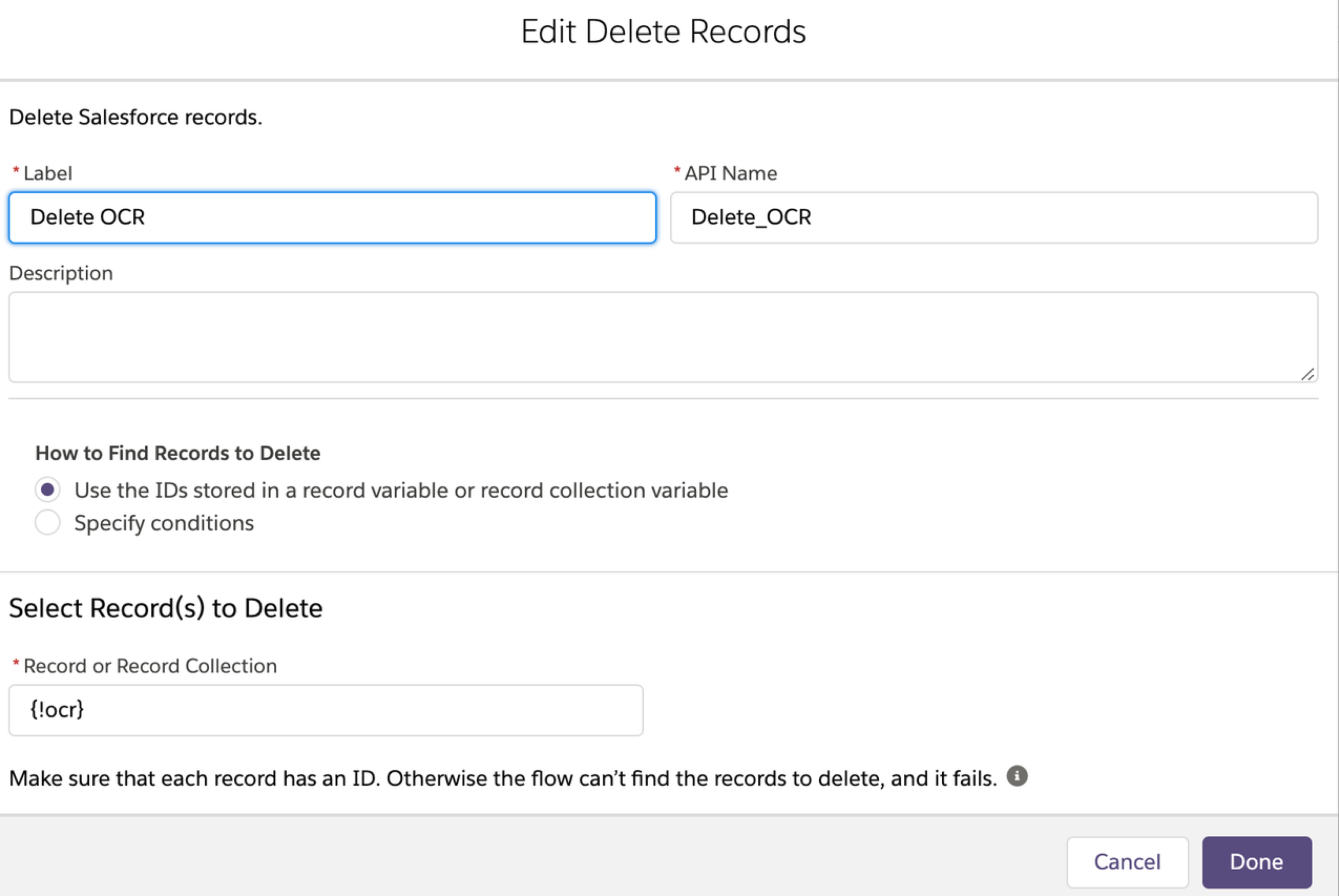 Screen configuring the delete records element in a flow