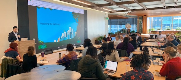 Bay Area Community Group Leader, Gordon Lee, leads an in-person training on the Salesforce Optimizer