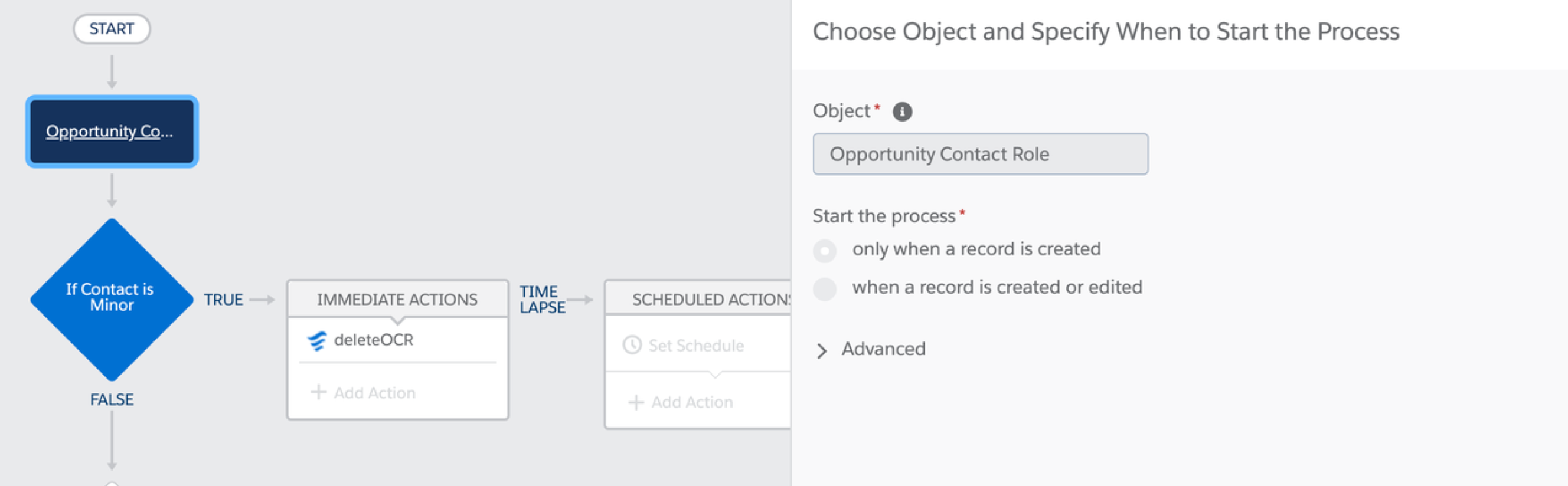 Process Builder specifying when to start the process with the Opportunity Contact Role