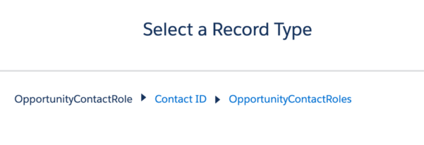 A screenshot showing how to select a record type in OpportunityContactRole.
