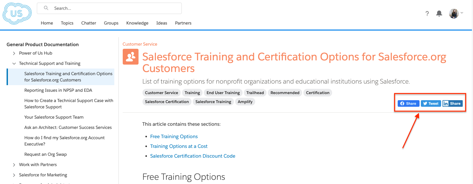 Share your favorite Salesforce.org Knowledge Articles on social media with click to share options directly from the Hub!
