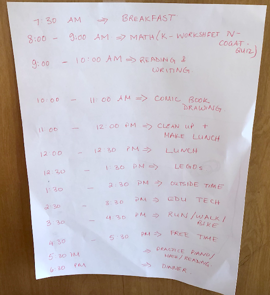 Classroom at home schedule