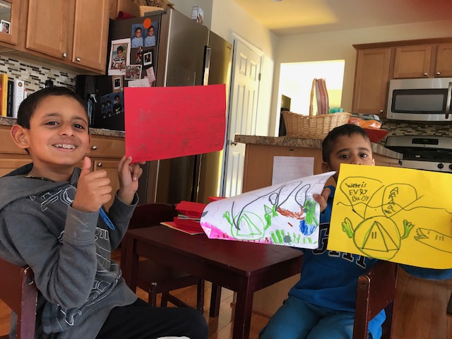 Devi's boys during comic book-making time.