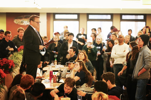 Dr. Beebe addresses students and staff in the dining commons with the Thomas Fire approaching. He also led regular conference calls for the entire Westmont community.