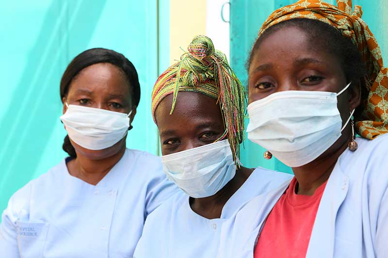Healthcare workers wearing masks