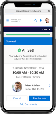 Mobile appointment booking on Salesforce Advisor Link advising tool