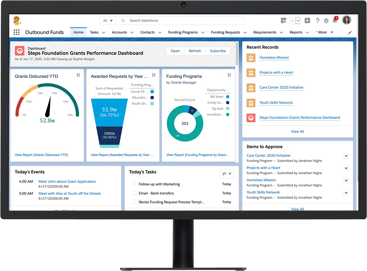 Grant management software allows grantmakers to build and view reports online to measure impact