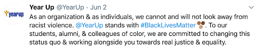 Twitter post from Year Up, an organization committed to changing this status quo and working alongside communities of color towards real justice and equality.