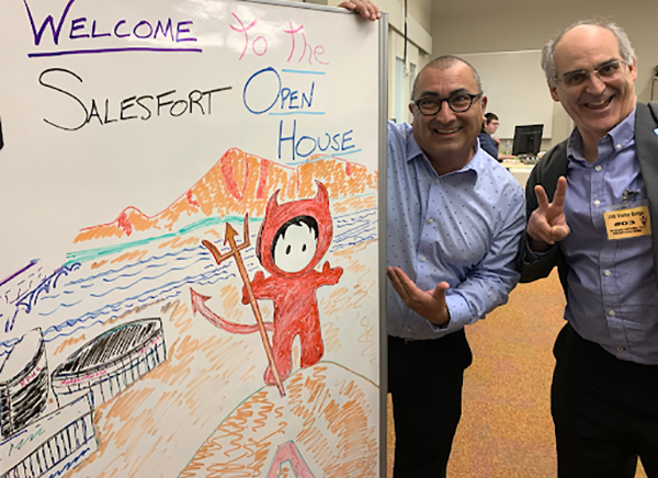 """Frank Montoya with Salesforce CTO for Customer Connection, Charlie Isaacs at the ASU """"Salesfort"""" in January 2020."""