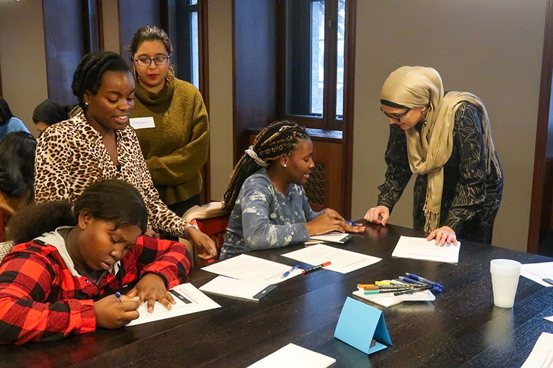The Salesforce Faithforce Chicago chapter partnered with Girlforward to host a career day event with refugee girls.
