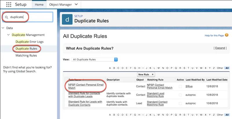 Duplicate Rules