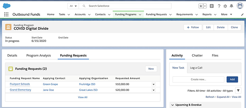 Outbound Funds module - funding requests