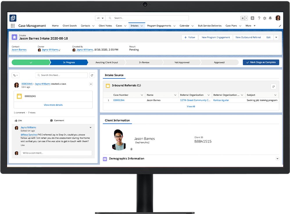 Client Intake in Nonprofit Cloud Case Management on a desktop
