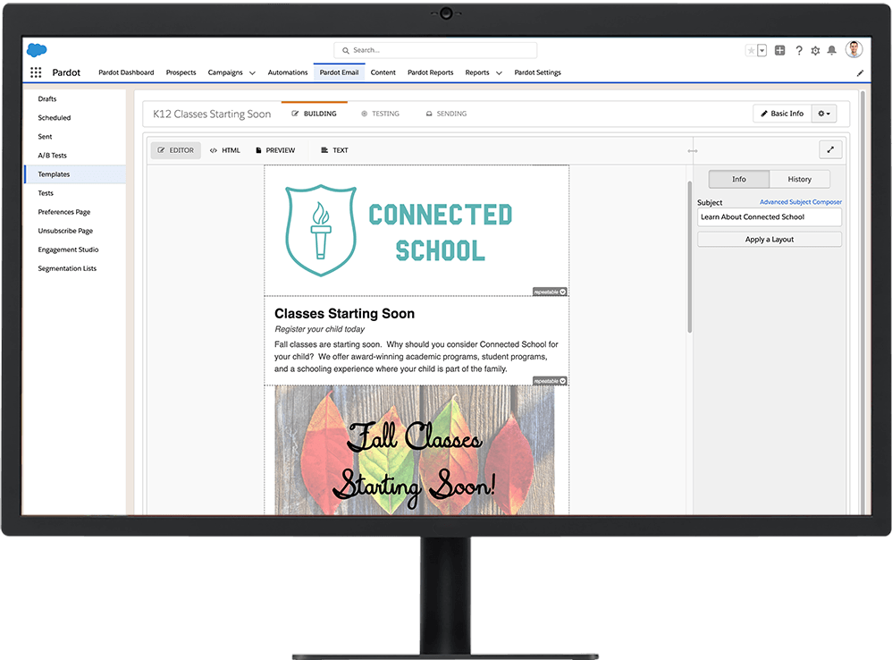 Email editor on a desktop for building family engagement emails in Education Cloud for K-12