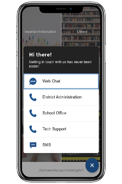 Multiple options to contact a school, shown on a phone screen