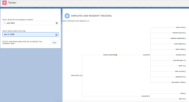 Screenshot of Seabury's contact tracing solution, built on Salesforce with support from Salesforce volunteers.