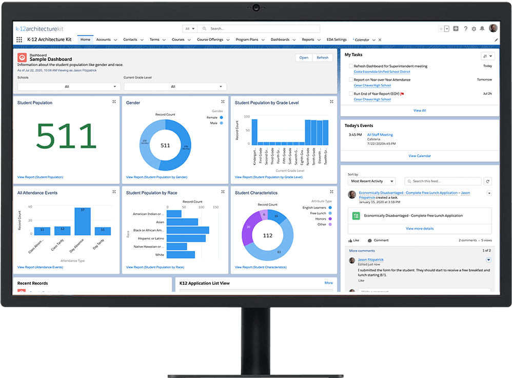 K-12 Architecture Kit overview dashboard on a desktop