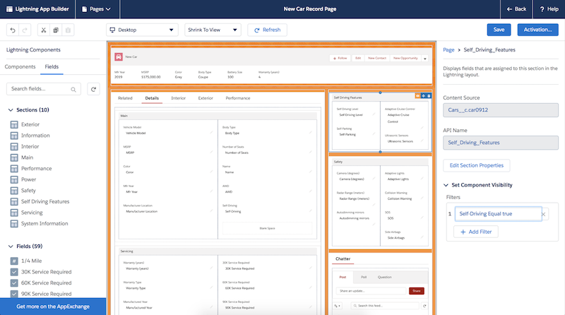 Manage fields and sections of pages using Dynamic Forms.