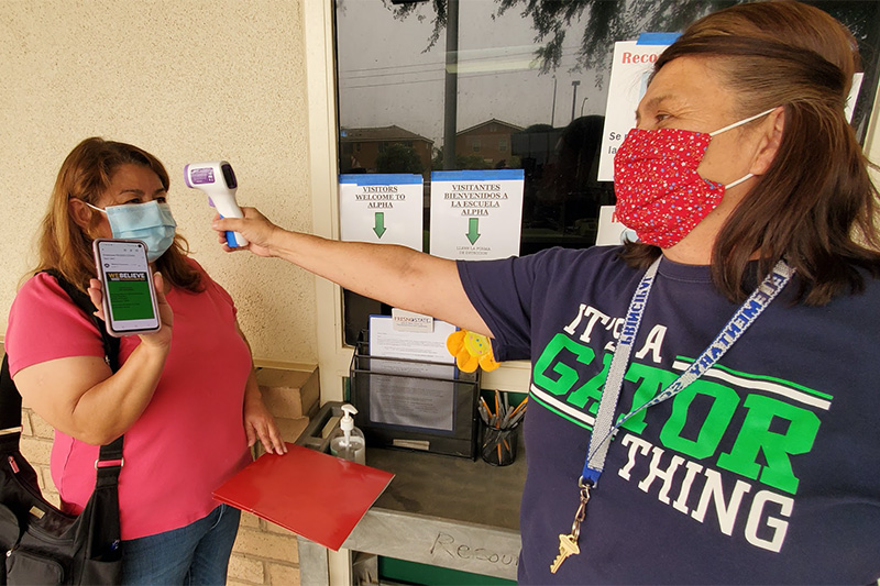 Temperature check at Madera Unified School District school