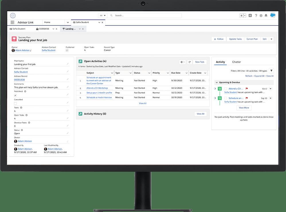 Screenshot of Salesforce.org Education Cloud Advisor Link